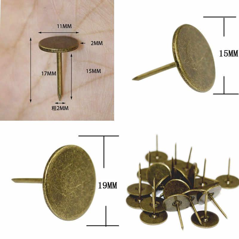 Clavos de cabeza plana de hierro antiguo tachuelas decorativas caja de madera caja muebles clavos pasador, Amarillo/bronce Pines, 1 PC