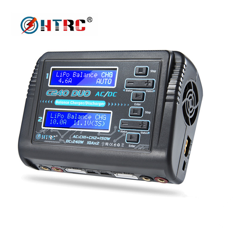 HTRC LiPo Charger LiHV LiFe Lilon NiCd NiMh Pb Battery Charger C240 DUO AC 150W /DC 240W Dual 10A RC Balance Charger DischargerHTRC LiPo Charger LiHV LiFe Lilon NiCd NiMh Pb Battery Charger C240 DUO AC 150W /DC 240W Dual 10A RC Balance Charger Discharger