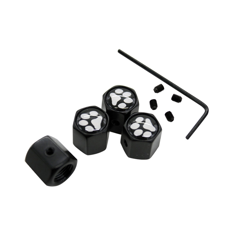 10Sets/Lot Black Anti-theft Style Lovely Cute Dog Paw Logo Car Badge Wheel Tire Valve Tyre Dust Cap For Audi BMW Benz VW Mazda