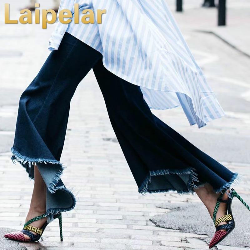 Laipelar High waist jeans trousers womens raw denim asymmetrical flared pants wide leg Autumn fahion high street