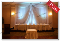 3*3m White Wedding&Banquet Decorations Curtain Backdrop With Swags Ice Silk Fabric Wedding Drapes