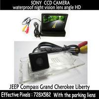 Car LCD Monitor 4.3 Foldable Color LCD Monitor + Backup Camera in Car Rear view Camera for JEEP Compass Grand Cherokee Liberty