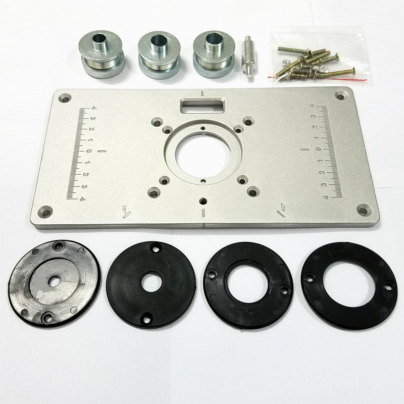 1pc/set NEW 700C Aluminum Plate 4Pcs Insert Rings Wood Router Table For Woodworking Trimmers Routers DIY Engrving Machine