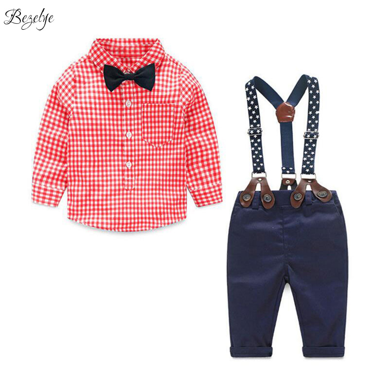 Baby Set Clothes for Toddler Boys Boutique Kids Clothing for Babies Plaid Shirts and Overalls Baby Boy Suit Bow Cute Cloth Set