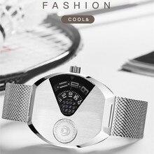Fashion Cool Men Full Black Watches Personalized Novel Pointerless Quartz Watch Quartz Concept Alloy Wrist watch Tonneau Montre