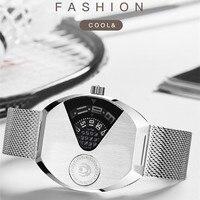 Moda legal homem completo preto relógios personalizados novela pointerless relógio de quartzo conceito liga relógio de pulso tonneau montre|Relógios de quartzo| |  -