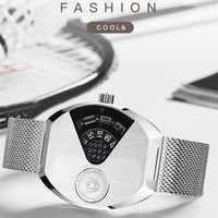 Mode Cool hommes montres noires personnalisées roman Montre à Quartz sans Pointerless Concept Quartz alliage Montre-bracelet Tonneau Montre