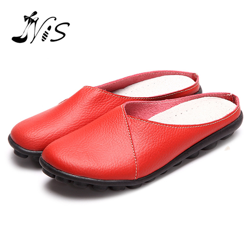NIS Primavera Verano Punta Redonda Slip-on Mujeres Pisos Femeninos Zapatos de Cu