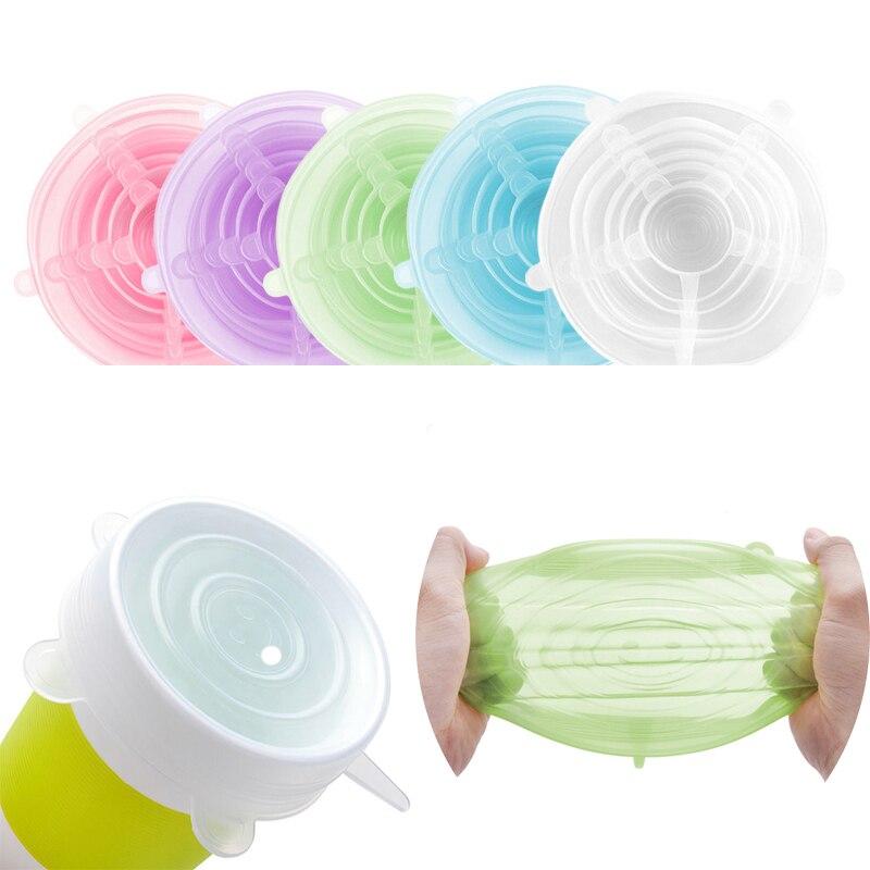 Silikon Stretch Deckel, Frische-halten Deckel, Wiederverwendbare Lebensmittel Wrap Schüssel Topf Abdeckung, 6 teile/satz