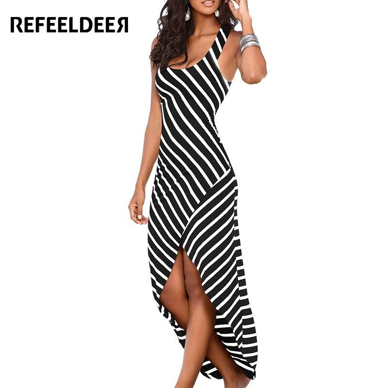 Refeeldeer Summer Dress Women 2017 Sexy Sleeveless Long Maxi Beach Dress Female White Black Striped Sundress