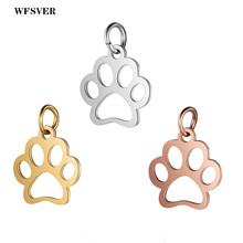 WFSVER 5pcs/lot 15*16mm Stainless Steel Charms Gold Silver Rose Dog Paw Pendant For Diy Necklace Jewelry Making
