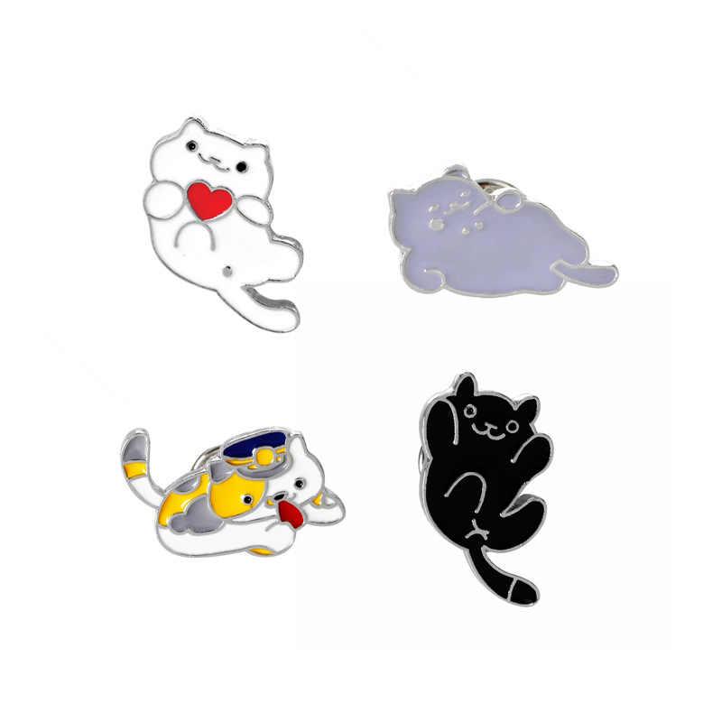 החדש חם קריקטורה שמן זרוק אמייל סיכת חמוד קיטי חיות מחמד עצלן חתולים סיכות כפתור ילדה ג 'ינס תיק דש סיכות קישוט מתנה