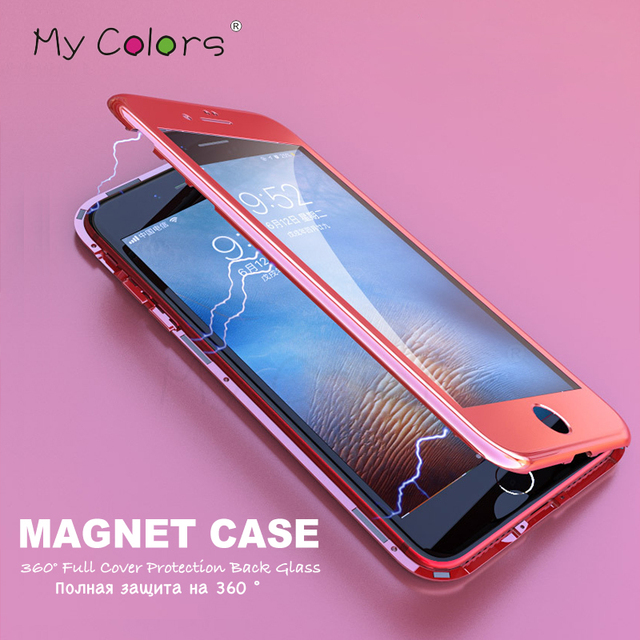 360 Full Cover Magnetic Adsorption phone case for iphone X 7 8 6 case tempered glass coque for iphone 6s 8 plus luxury fundas