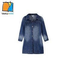 YKYY YAKUYIYI Nouveau Bleu Unique-du sein Denim Filles Robe À Manches Longues Bébé Filles Col de Chemise Filles Robe Vêtements Pour Enfants
