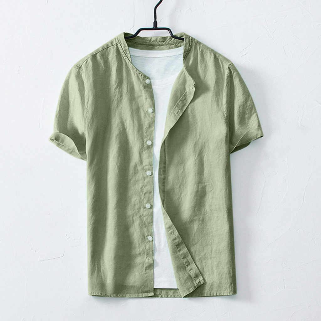 寝台 #401 2019 新ファッション夏メンズクール薄い通気性のソリッドカラーボタンコットンシャツ半袖ギフト送料無料