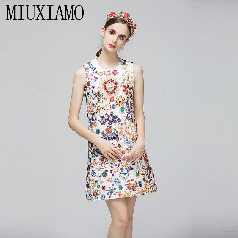 MIUXIMAO 2019 mode piste automne tenue décontractée femmes sans manches réservoir de luxe cristal diamants Vintage robe femmes vestido