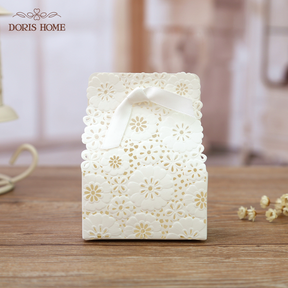 50 pcs White Red Flower Laser Cut Wedding Favor Boxes Wedding Candy ...