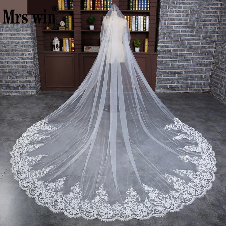 Free Shipping Hot Sale White One-layer Bridal Veils Scalloped Edge Church Long Bridal Wedding Veil Veu De Noiva C093-TS7730