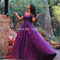 Purple Long Sleeve Lace Evening Dresses Sweetheart Dubai A Line Tulle Women Elegant Arabic Bridal Formal prom Gowns Dresses
