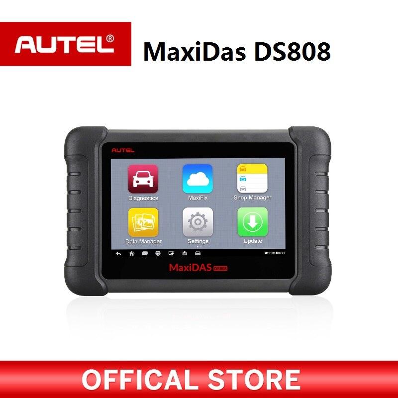 Autel MAXIDAS DS808 automotriz OBDII escáner OBD2 herramienta de diagnóstico para información del ECU codificación clave lector de código PK Maxisys MS906