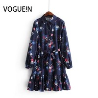 VOGUEIN New Womens Navy Lapel Floral Print Long Sleeve Mini Shirt Dress Wholesale