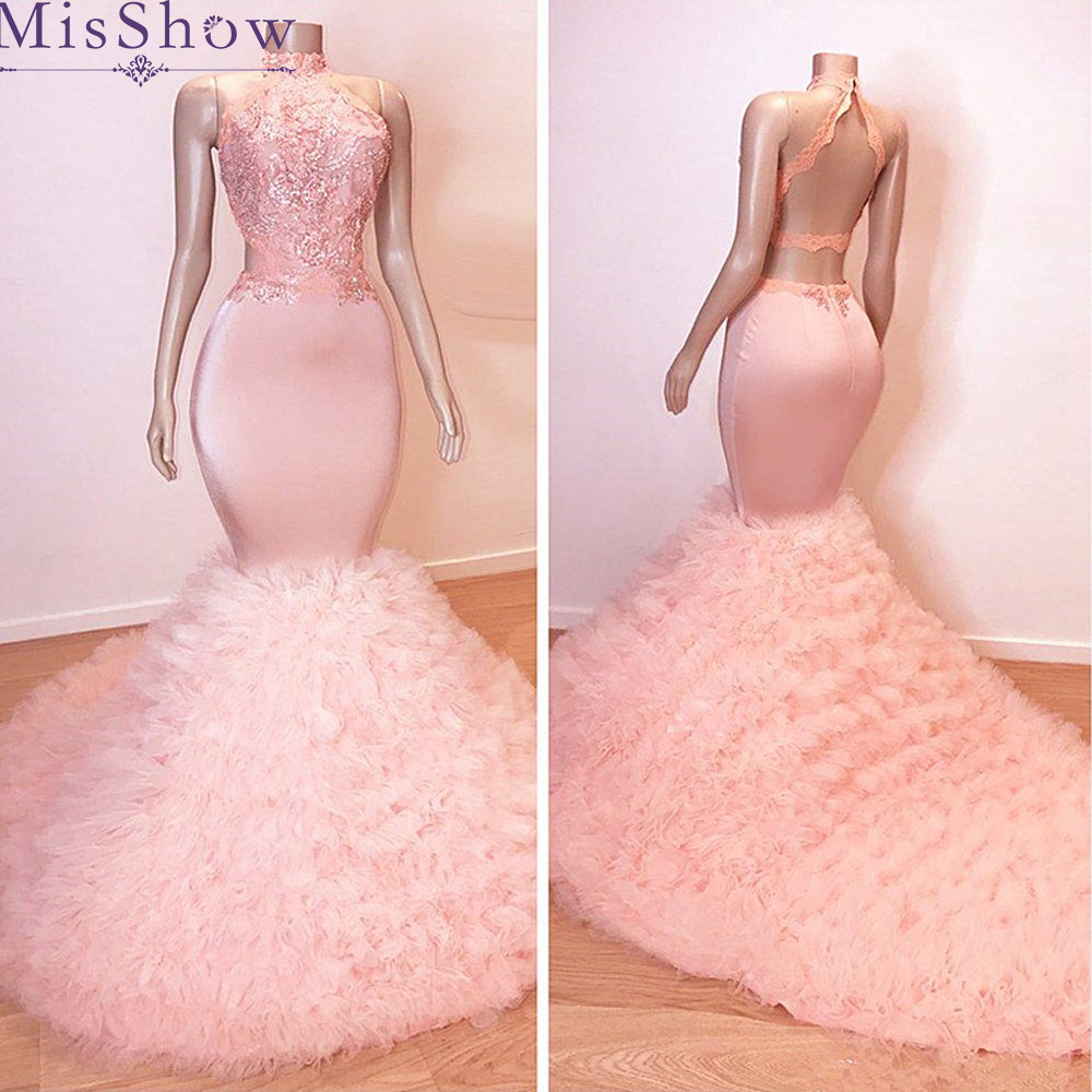 2019 Elegant   Prom     Dresses   Mermaid Sleeveless Appliques Backless Party Pink Tassel Long   Prom   Gown Evening   Dresses   Robe De Soiree