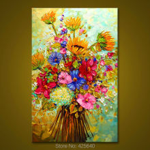 Canvas painting on the wall painting for entrance way canvas wall art photos palette knife hand painted Flowers and plants 1