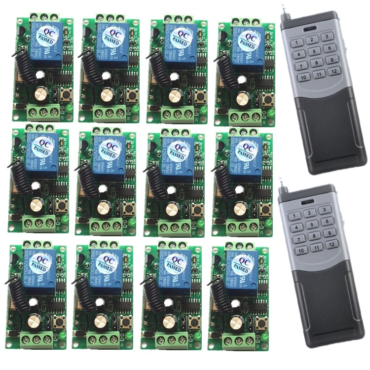 DC 12V 24V RF Wireless remote control system 20-2000M 1 (controller)transmitter +12 receiver(switch)12V 10A 315MHZ 433.92MHZDC 12V 24V RF Wireless remote control system 20-2000M 1 (controller)transmitter +12 receiver(switch)12V 10A 315MHZ 433.92MHZ