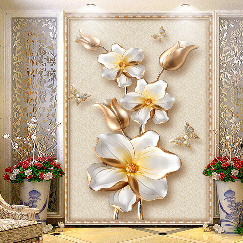 3D Stereoscopic Luxury Gold Flower Jewelry Photo Mural Wallpaper European Style Hotel Living Room Entrance Backdrop Wall Papers custom 3d mural wallpaper european style diamond jewelry golden flower backdrop decor mural modern art wall painting living room