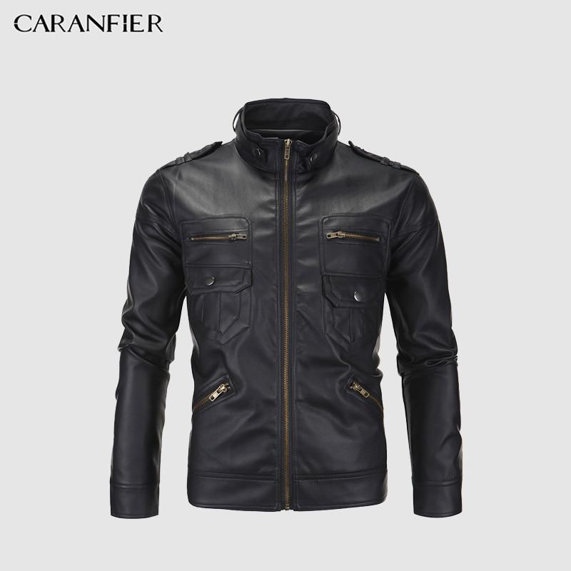 CARANFIER Vintage Retro Motorrad Jacken Männer PU Leder Jacke Biker Punk Klassische Zipper Winddicht Moto Jacke Größe M-4XL