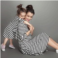 Ins hot Stripe Mother Daughter Dresses Girls Family Clothing Dresses For Mother And Daughter Wedding And Party Dress Set