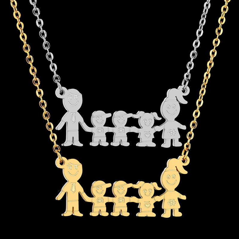 Nextvance Two Boy Girl Family Necklace & Pendants Gold Cartoon Dad Mom Kids Necklaces Birthday Gift Charm Jewelry