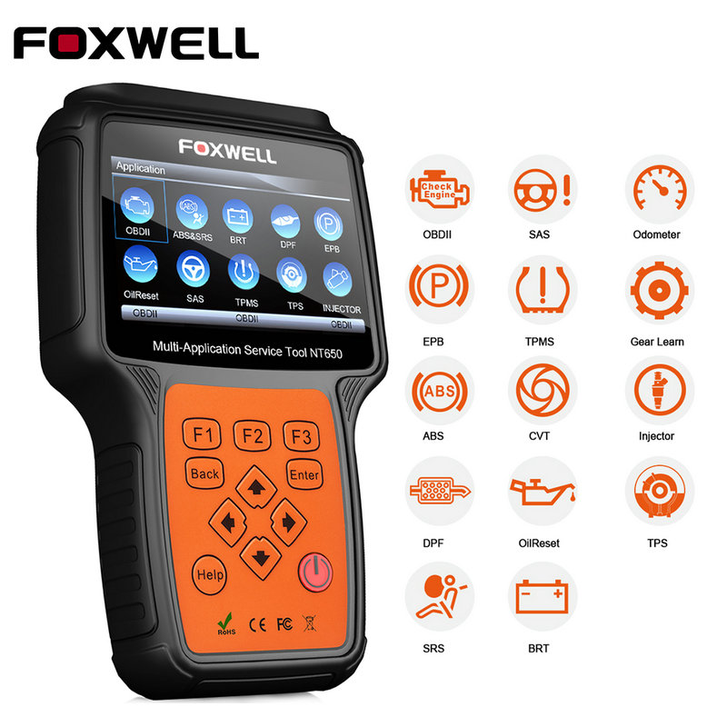 FOXWELL NT650 OBD2 Car Diagnostic Tool ABS SRS Airbag SAS EPB Oil Service DPF TPMS Reset