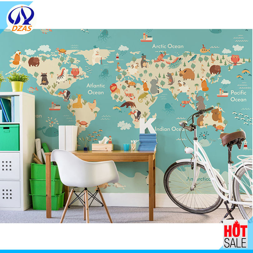 2018 Mural Children's Room Wallpaper World Map Wallpaper Cartoon Animal Boy Bedroom Wall Cloth DZAS-CX Non-woven Fabric Mural