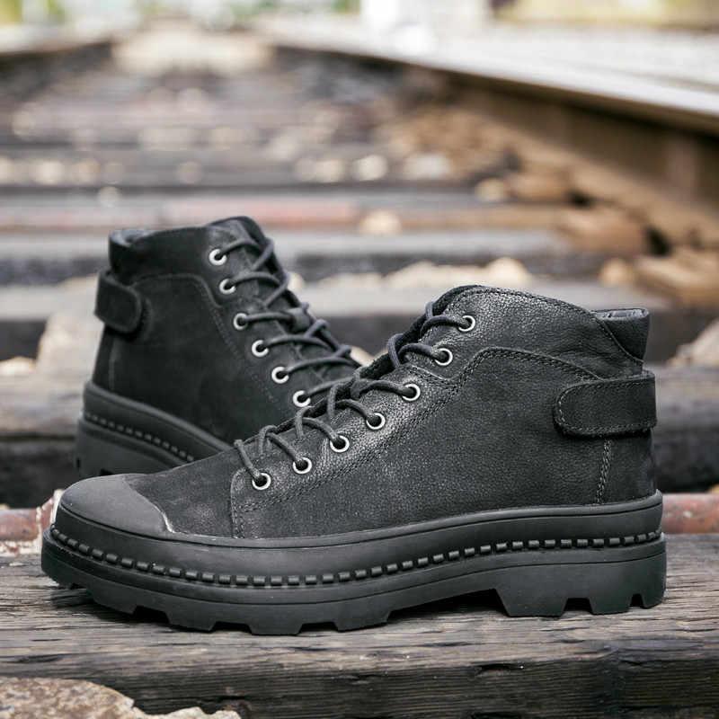 f7df22709fb6 ... Из натуральной кожи Мужские ботинки модные дизайнерские Обувь на теплом  меху внутри Брендовые ботильоны обувь Для ...