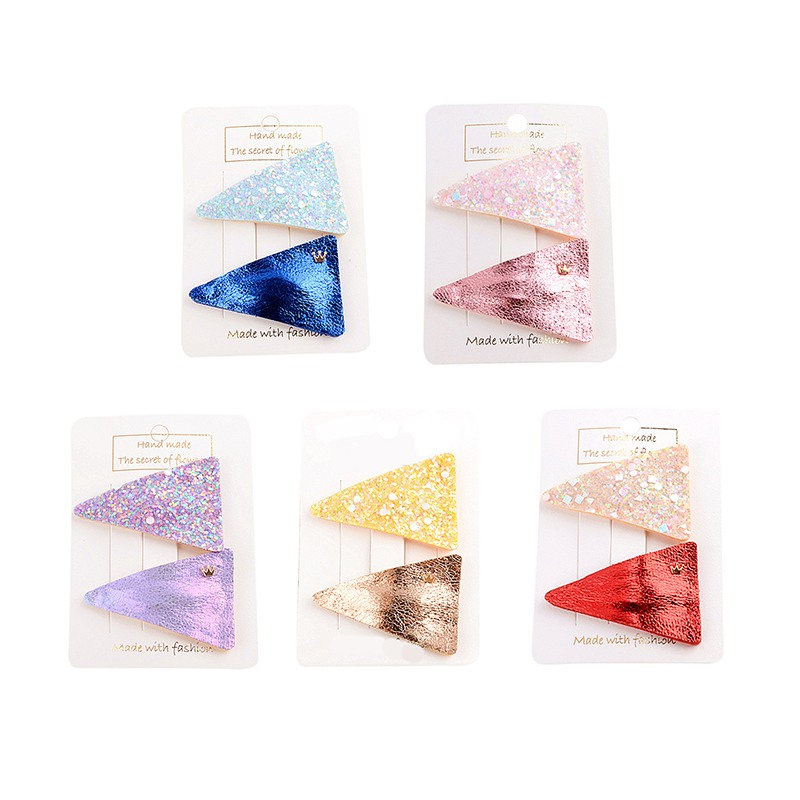 Girl Hair Clip 2pcs/set Children Concise Casual All-match Solid Color Triangle Hair Clip Girl Hair Decoration(China)