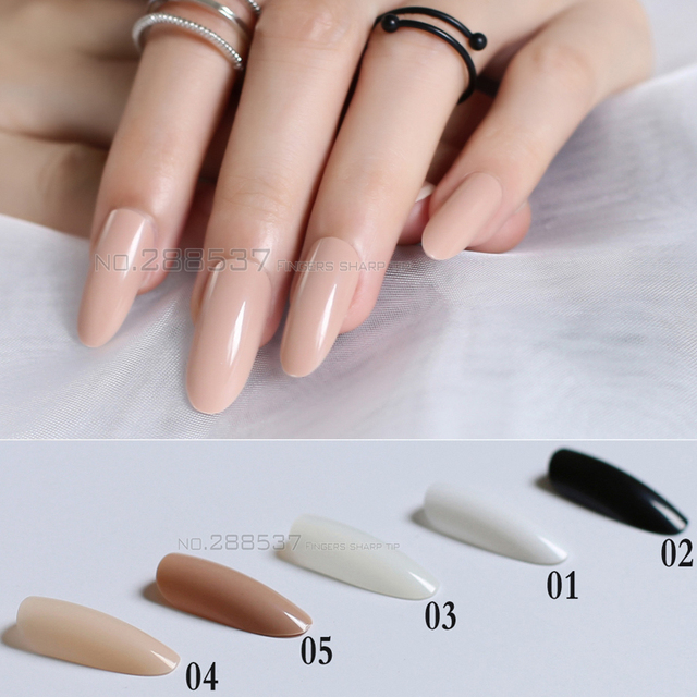 New Black White Almond long oval head Solid color Round blown False ...