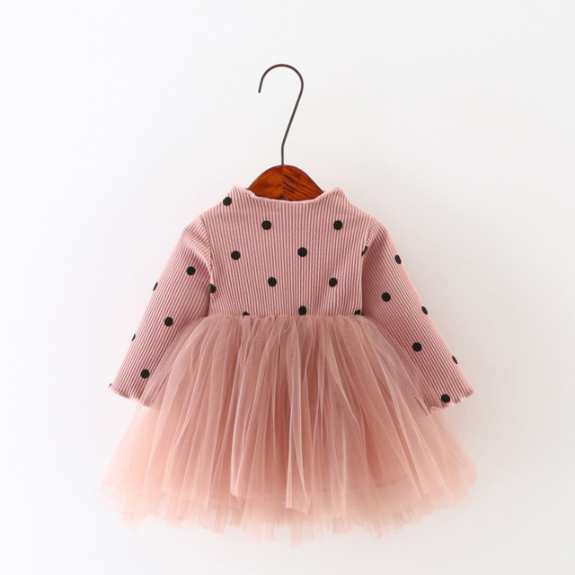 Lace Bow 4 Colors Cute Children's Dress 2017 New Brand Autumn New Korean Long-sleeved Dress Baby Girls Princess Kids Clothing