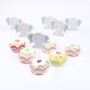 Image 3 - 24 pz/lotto Carino piccolo elefante Tema Del Partito Del Bigné Toppers Per La Famiglia del bambino doccia Festa di Compleanno Decorazione Forniture