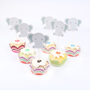 Image 3 - 24pcs/lot Cute little elephant Theme Party Cupcake Toppers   For Family baby shower Birthday Party  Decoration Supplies