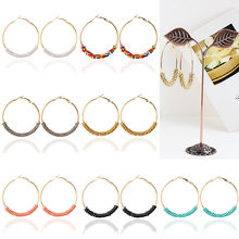 Bead Boho Hoop Earrings Circle 1Pair Trendy Gold Color Fashion Women Ethnic Multicolor Wedding Vintage Jwelry Gifts(China)