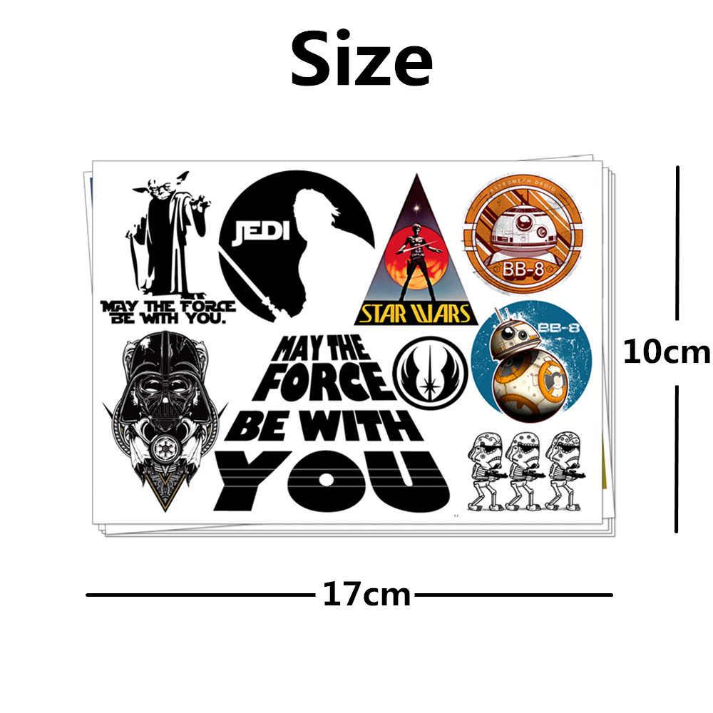 Crianças Etiqueta Do Tatuagem Temporária Corpo Arte Da Novidade Da Mordaça Brinquedos Dos Desenhos Animados para Os Fãs de Star Wars Jedi Darth Vander 2 À Prova D' Água- 3 dias