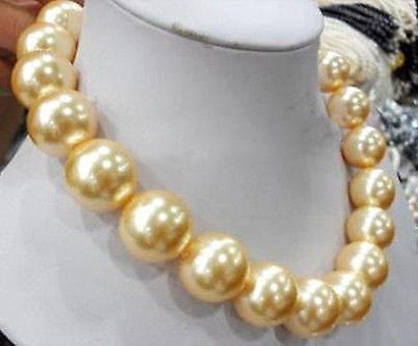 New Style Hot vente ** Big 18 mm ronde coquille southsea or collier de perles 18