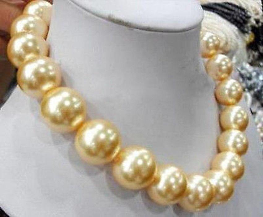 Nouveau Style offre spéciale ** grand collier de perles de 18mm en forme de coquille de sud doré 18