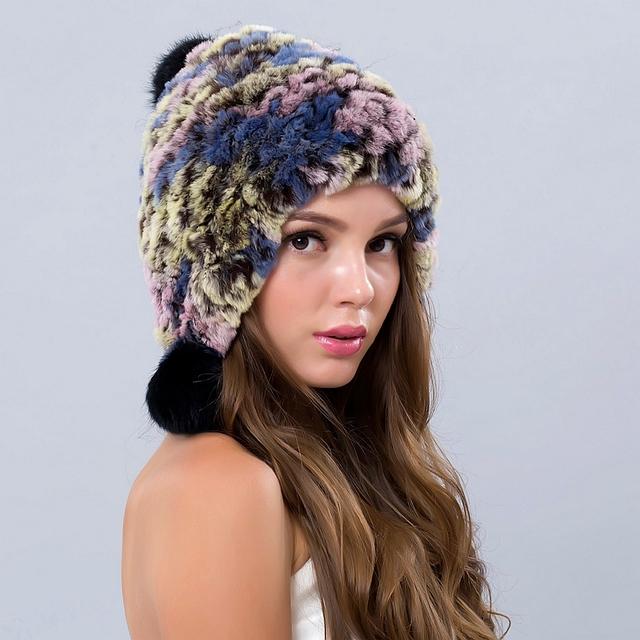 Chapéus de inverno Para As Mulheres Caps Chapéu Russo Meninas Fêmeas Chapéus Gorros Tampas De Peles reais Com Bolas Gorros 2016 New Real Fur Beanie