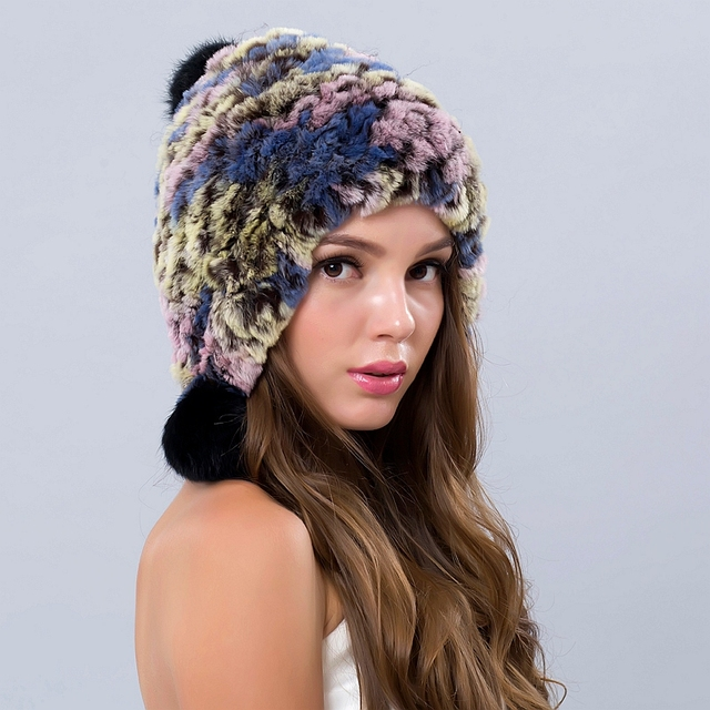Winter Hats For Women Caps Russian Hat Female Girls Hats Beanies Real Fur Caps With Balls Gorros 2016 New Real Fur Beanie
