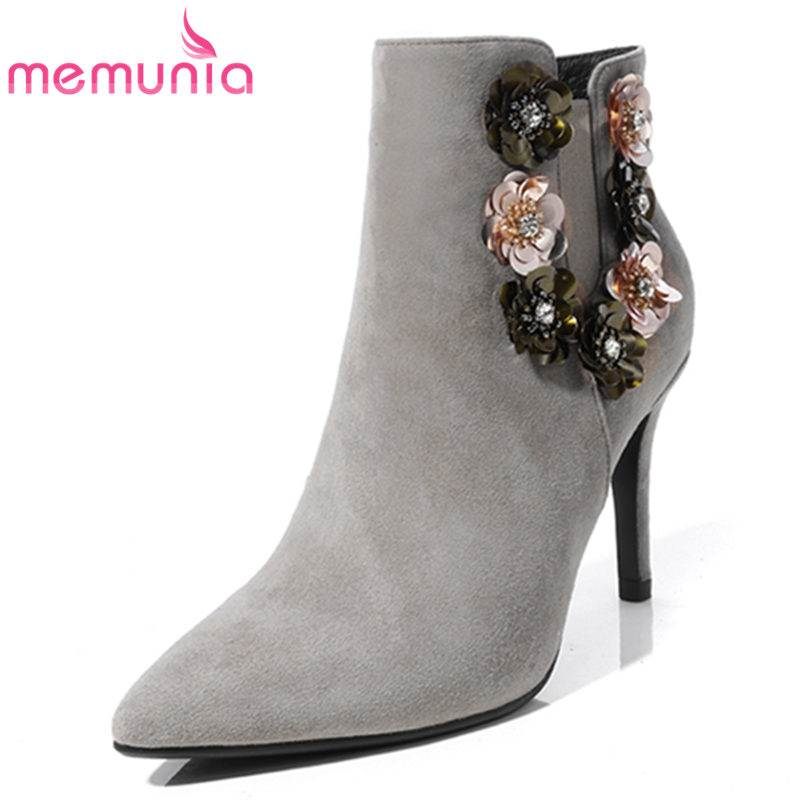 MEMUNIA 2018 NEW fashion appliques ankle boots women kid suede leather thin high heels pointed toe zipper boots casual shoesMEMUNIA 2018 NEW fashion appliques ankle boots women kid suede leather thin high heels pointed toe zipper boots casual shoes