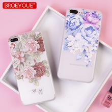 BROEYOUE Phone Case For iPhone 6 6S Plus 8 7 3D Relief Soft TPU Silicone Flower X 5 5S SE