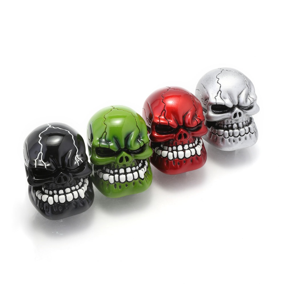Universal Manual Gear Shift Knob Shifter Lever Wicked Carved Skull pomo marchas Black Green Red Silver