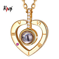 Kpop 925 Sterling Silver Love Heart Necklace Customized Nanotechnology Jewelry Deer Horn Antler Crown Projective Necklace P6508